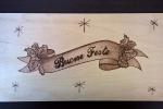 Targa natalizia pirografata a mano Buone Feste