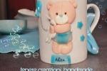 Tazza personalizzata interamente a mano in porcellana fredda con orsetto