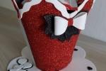 Tazza portacialde rossa con fiocco bianco
