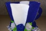Tazzone portacialde in feltro e con fiori di gomma crepla