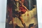Tegola in legno Arcangelo Michele decorata a mano