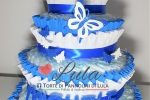 Torta di Pannolini Pampers Baby Dry + farfalla e nome 3D