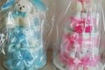 Torta pannolini in colore blu e rosa