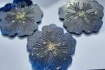Tris sottobicchieri resina blu e oro