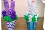 Vasetti con fiori di lavanda in gomma crepla