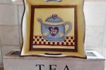 """Vassoio in legno dipinto con teiera """"tea-time"""""""