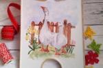 Tagliere-Vassoio in porcellana con oche, dipinto a mano