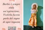 Vestito Barbie all'uncinetto colore giallo con cappello e scialle bianco