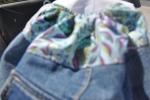 Zainetto in jeans e tessuto fantasia di cotone azzurro